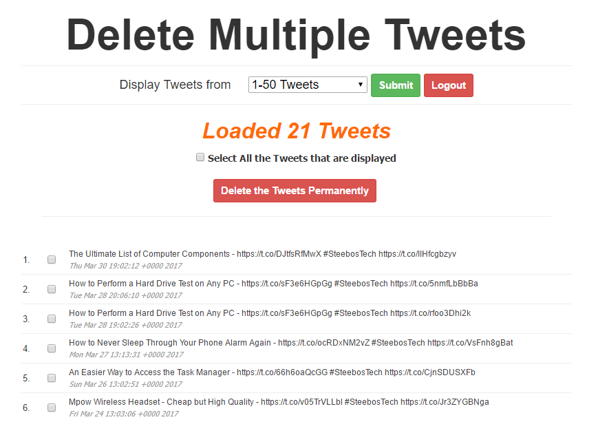 Delete Multiple Tweets At Once