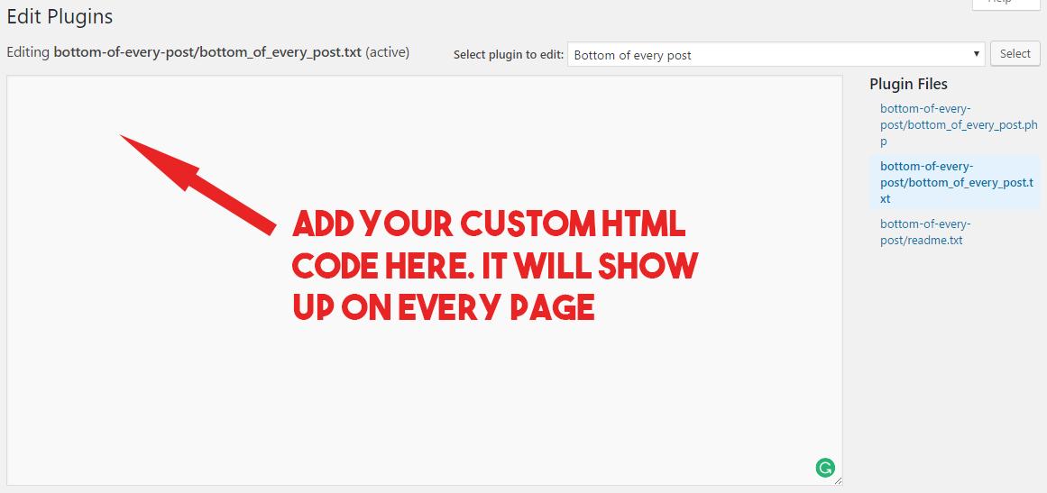 custom html - bottom of every post