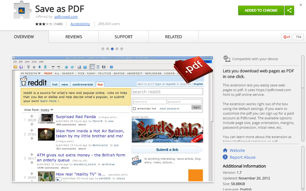 save a web page as a PDF